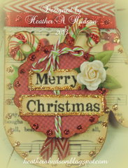 Vintage Christmas Mitten Ornament/ Card Back Close up
