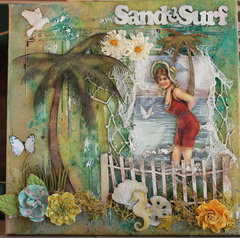Vintage Beach Canvas 12 x 12