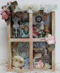 Window Shadowbox in a Vinatge Sewing Theme