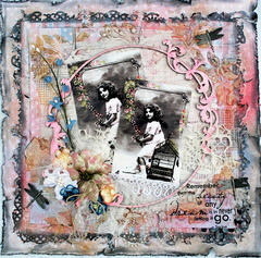 Mixed media collage **CT Flying Unicorn**