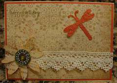 Dragonfly and Lace Birthday Card