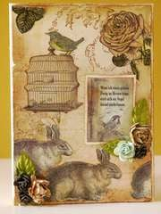 LaBlanche Wire Bird Cage, Resting Rabbit, Rose Blossom
