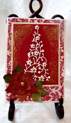 Gold Embossed Christmas Tree & Poinsettia Card (Outside)