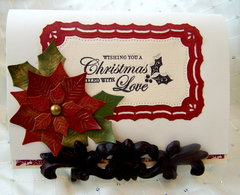 Gold Embossed Christmas Tree & Poinsettia Card (Inside)