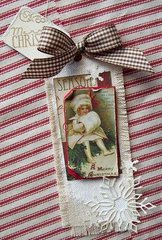 Vintage style canvas & paper Christmas gift tag