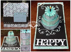 Pop-up Cake Card Blue and Brown