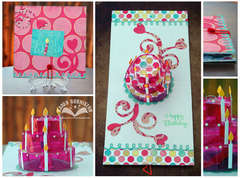 Pink Pop-up Birthday Cake Card