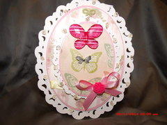 lace pink butterfly card and envelope box