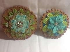 Cork and needlepoint fabric flowers