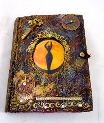 moon goddess altered book art journal