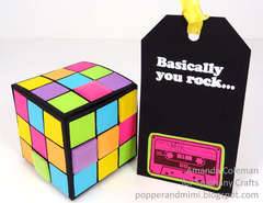 Neon Rubik's Cube gift box and tag