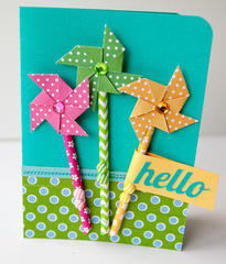 Hello featuring Queen & Co Stylish Stix and Adhesive Pinwheels