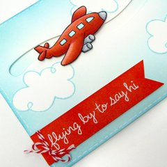 Lawn Fawn Flying By Airplane Card by Mendi Yoshikawa