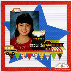 Doodlebug Back To School Star Layout by Mendi Yoshikawa
