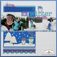 A Doodlebug Frosty Friends Snow Layout by Mendi Yoshikawa