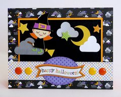 Doodlebug Halloween Parade Witch Card by Mendi Yoshikawa