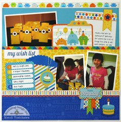 A Doodlebug Hip Hip Hooray layout by Mendi Yoshikawa