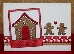 A Lawn Fawn Gingerbread House Card by Mendi Yoshikawa