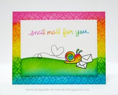 Lawn Fawn Rainbow Snail Mail Card by Mendi Yoshikawa