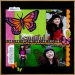 Lori Whitlock Butterfly Fairy Halloween Layout by Mendi Yoshikawa