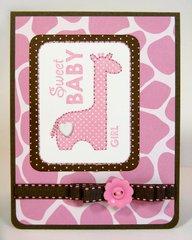 Bella Blvd Baby Girl Giraffe Card by Mendi Yoshikawa