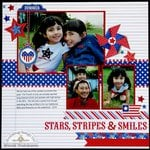 Doodlebug Patriotic Parade Layout by Mendi Yoshikawa