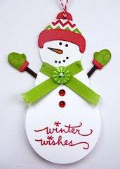 Papertrey Ink Snowman Christmas Tag by Mendi Yoshikawa