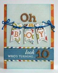 Echo Park All About A Boy 10th Birthday Card by Mendi Yoshikawa