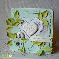 Mint and lemon green - wedding card