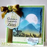 Congratulation on new babby arrival - card with mountain range for hiking lovers