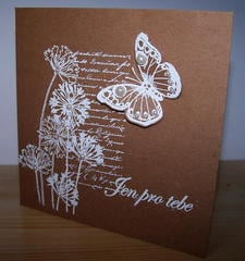 Card with white butterfly