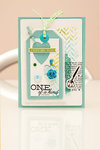 One of a kind card with watercolour tag