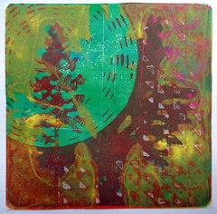 Two Trees Monoprint - Berry71Bleu