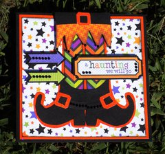 Handmade Paper Pieced Witch Boots Halloween Card