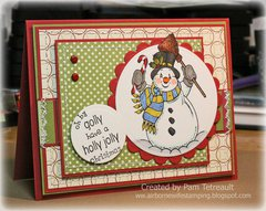Brand New Deep Red Cling Stamp Snowman!