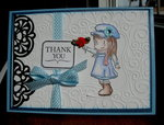 Little Girl With Flower Card - Blue