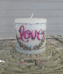 Candle with heat transferred ADORNit Art Play Paintables image