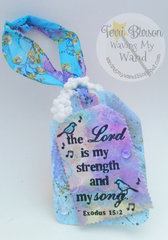Scripture Watercolored Tag/Door Hanger w/Spellbinders and Tombow