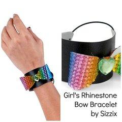 Rhinestone bow cuff bracelet
