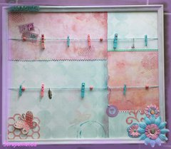 Scrapbook frame with clothespin