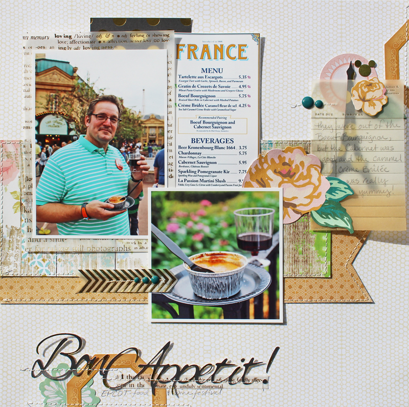 Scrapbooking layout ideas: scan and resize a menu to use in your layout
