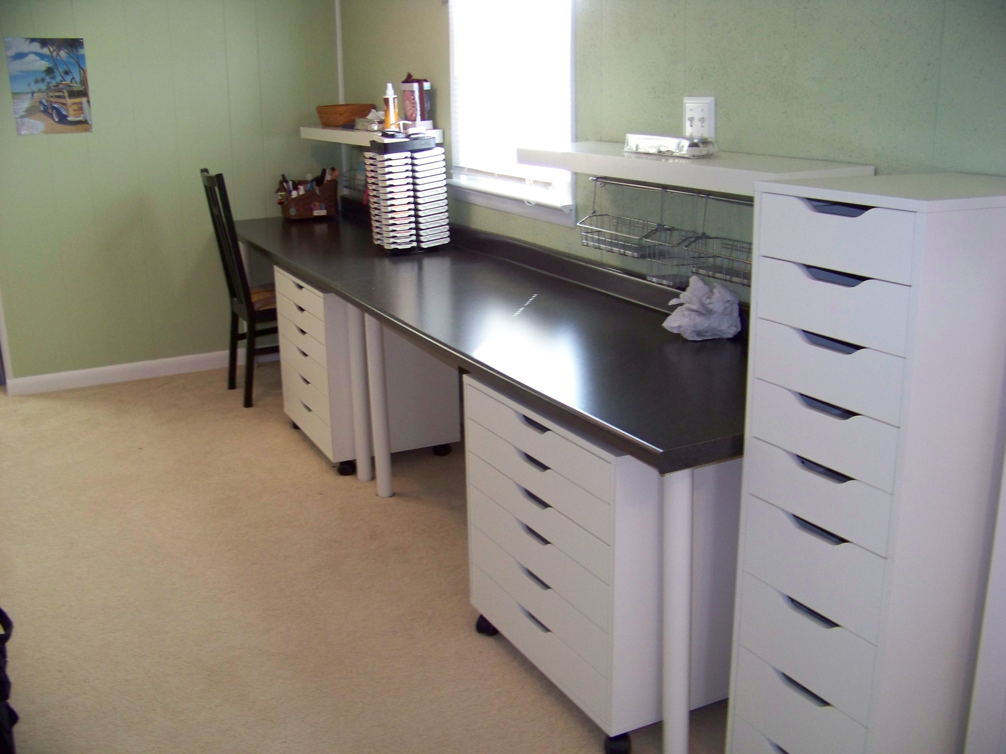 Scraproom new countertop desk with two workstations for Best brand of paint for kitchen cabinets with papiers scrap