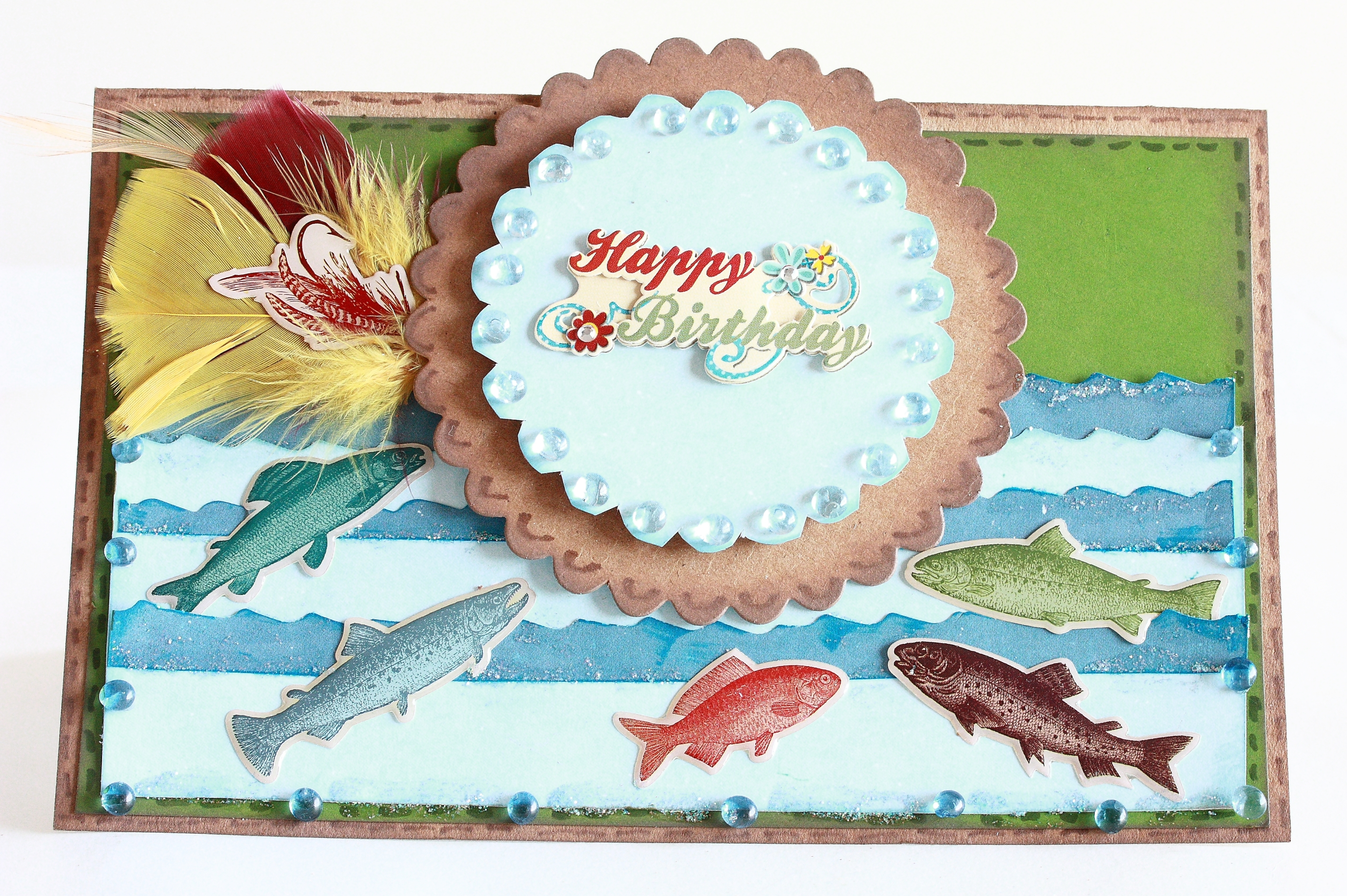 Card fishing themed happy birthday for Fishing birthday cards