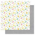 Pink Paislee - Hello Sunshine Collection - 12 x 12 Double Sided Paper - Rain Drops