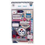 American Crafts - Pink Paislee - Pen Pals Collection - Chipboard Stickers