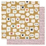 American Crafts - Pink Paislee - Switchboard Collection - 12 x 12 Double Sided Paper - Lets Chat
