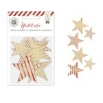 Pink Paislee - Yuletide Collection - Christmas - Canvas Stars with Foil Accents