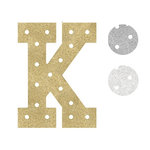Heidi Swapp - Marquee Love Collection - Marquee Inserts - 8 Inches - K - Gold, Silver, and White Glitter - 3 Pack
