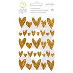 Studio Calico - Seven Paper - Amelia Collection - Chipboard Stickers - Gold Glitter Hearts