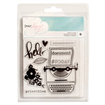 American Crafts - Dear Lizzy Collection - Documentary - Clear Acrylic Stamps - Small Set